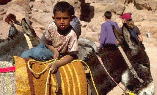 Un chico con su burro en Petra